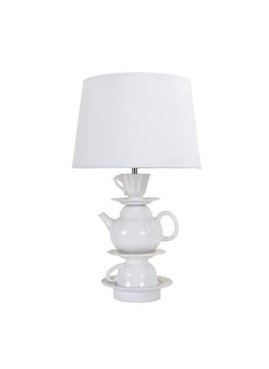 Warm Design Çaydanlık Motifli Masa Abajuru Beyaz
